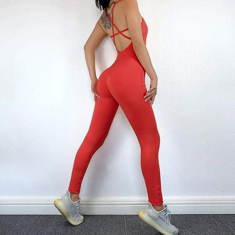 shopsharpe.com Red / M Seamless Yoga Jumpsuit Sports Backless Sexy Women Yoga Set Fitness Sportswear For Women Gym Running Workout Athletic Suit Female