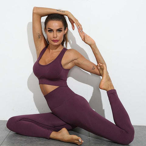 shopsharpe.com Women Seamless Yoga Set Fitness Sports Suits Gym Clothing Long Sleeve Crop Top Shirts High Waist Running Leggings Workout Pants