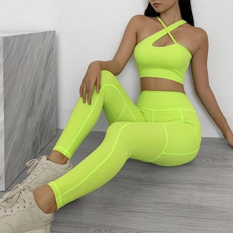 shopsharpe.com Yellow Set / L Seamless Yoga Women Suit 2 Piece Sports Sets Female Workout Wear Moderate Support Sport Bra Leggings High Waist Fitness Clothing