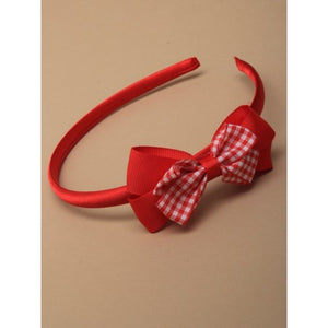 Aliceband With Double Gingham Bow