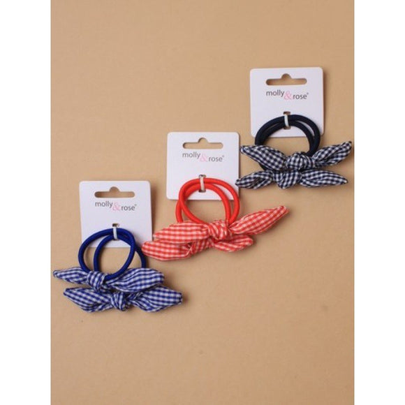 Two Elastics With Gingham Bow