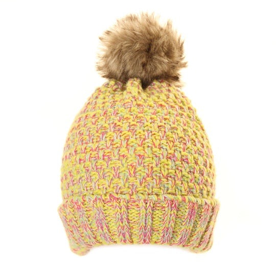 Chunky Faux Fur Bobble Hat in Yellow