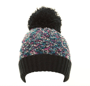 Popcorn Yarn Bobble Hat in Navy