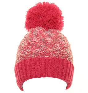 Popcorn Yarn Bobble Hat in Pink