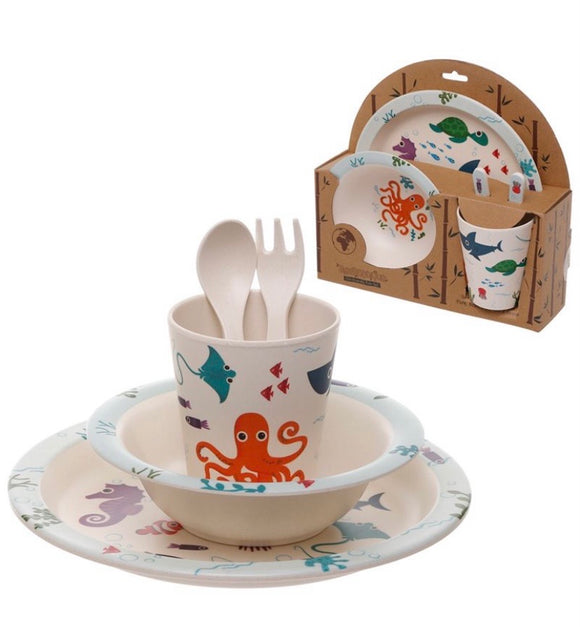 Eco Friendly Sealife Bamboo Diner Set
