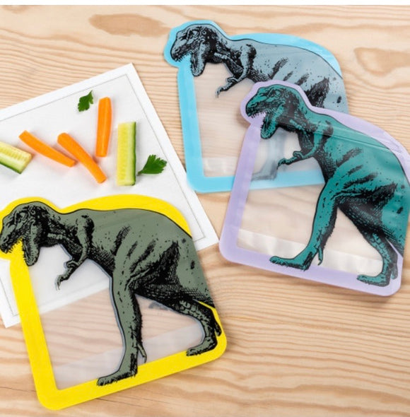 Dinosaur Reusable Snack Bags (Set of Three)