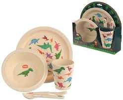Eco Friendly Dinosaur Bamboo Dinner Set