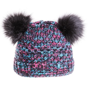 Double Faux Fur Pom-Pom Hat