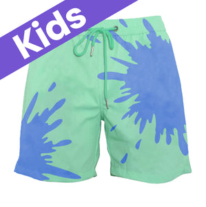 Kids Green-Blue Color-Changing Swim Trunks