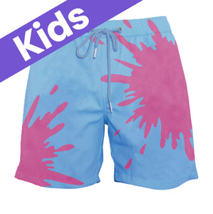 Kids Blue-Purple Color-Changing Swim Trunks