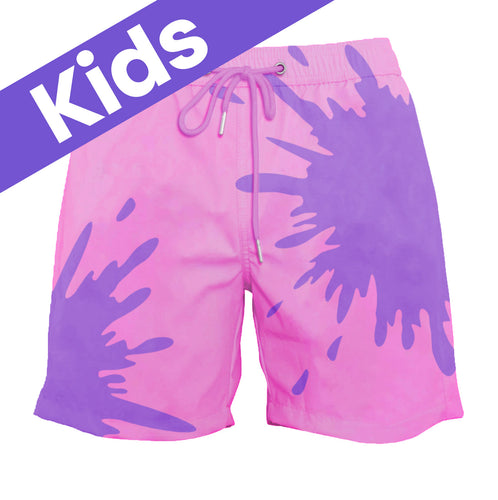 Kids Pink-Purple Color-Changing Swim Trunks