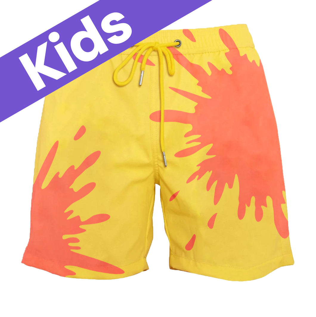 Kids Orange-Yellow Color-Changing Swim Trunks