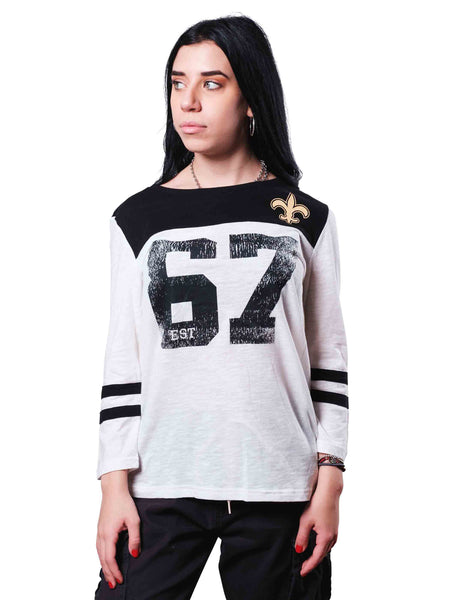NFL New Orleans Saints Women's Vintage 3/4 Long Sleeve Tee|New Orleans Saints