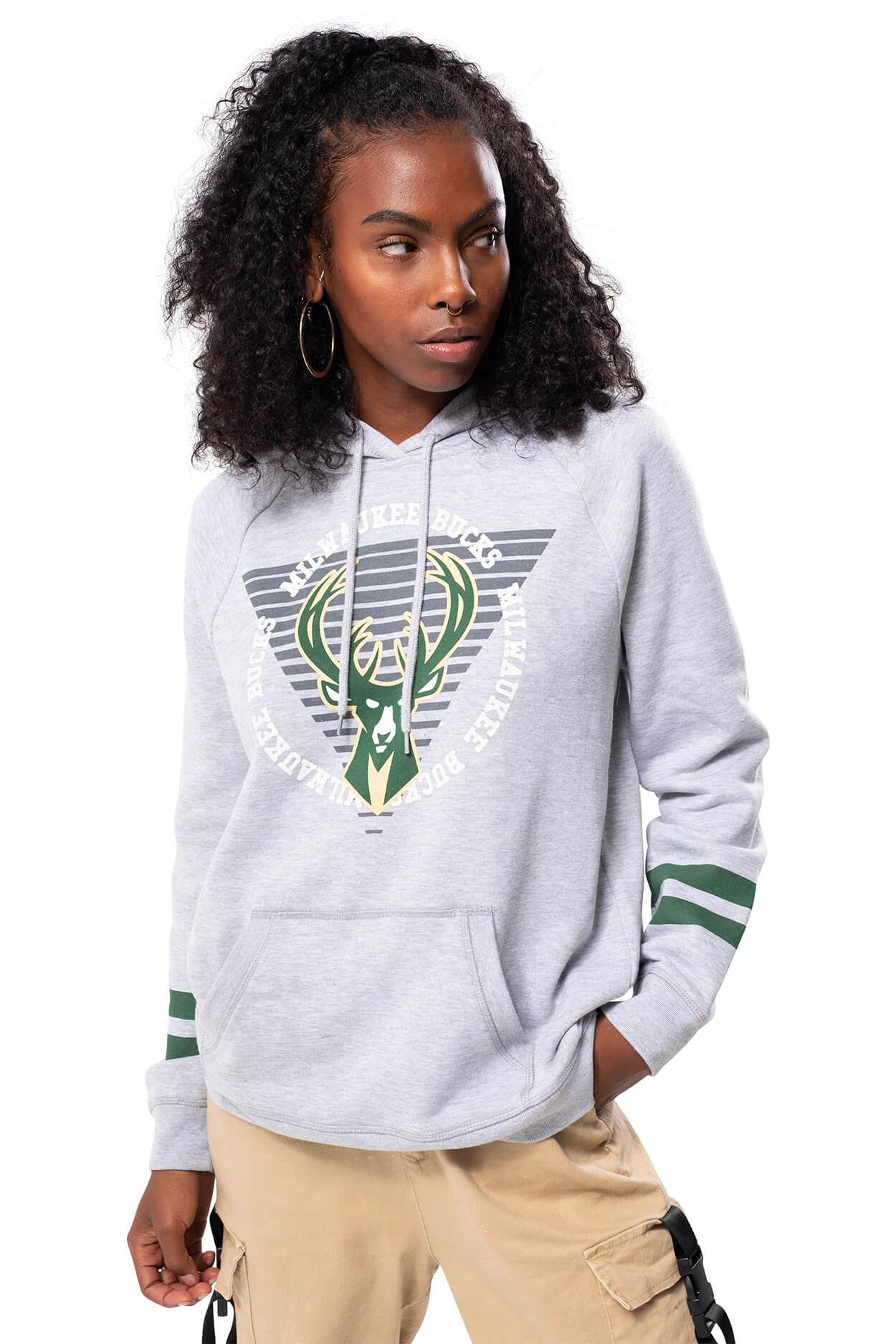 NBA Milwaukee Bucks Women's Hoodie Varsity Stripe|Milwaukee Bucks