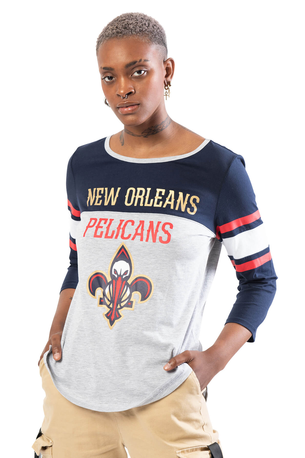 NBA New Orleans Pelicans Women's Baseball Tee|New Orleans Pelicans
