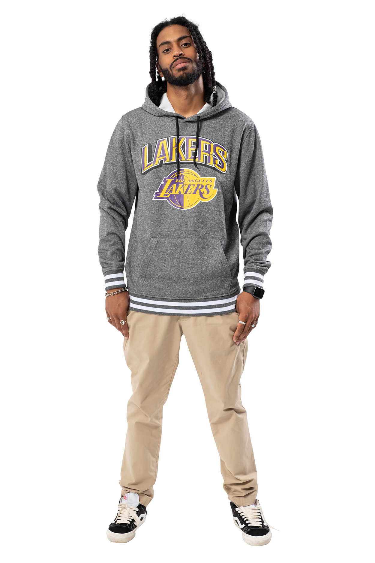 NBA Los Angeles Lakers Men's Fleece Hoodie Rib Stripe|Los Angeles Lakers