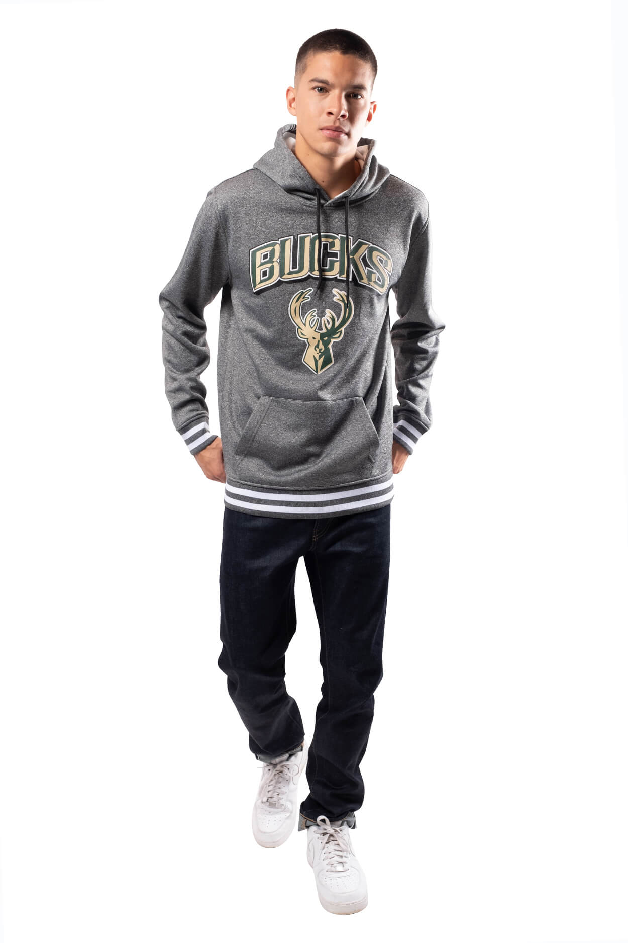 NBA Milwaukee Bucks Men's Fleece Hoodie Rib Stripe|Milwaukee Bucks