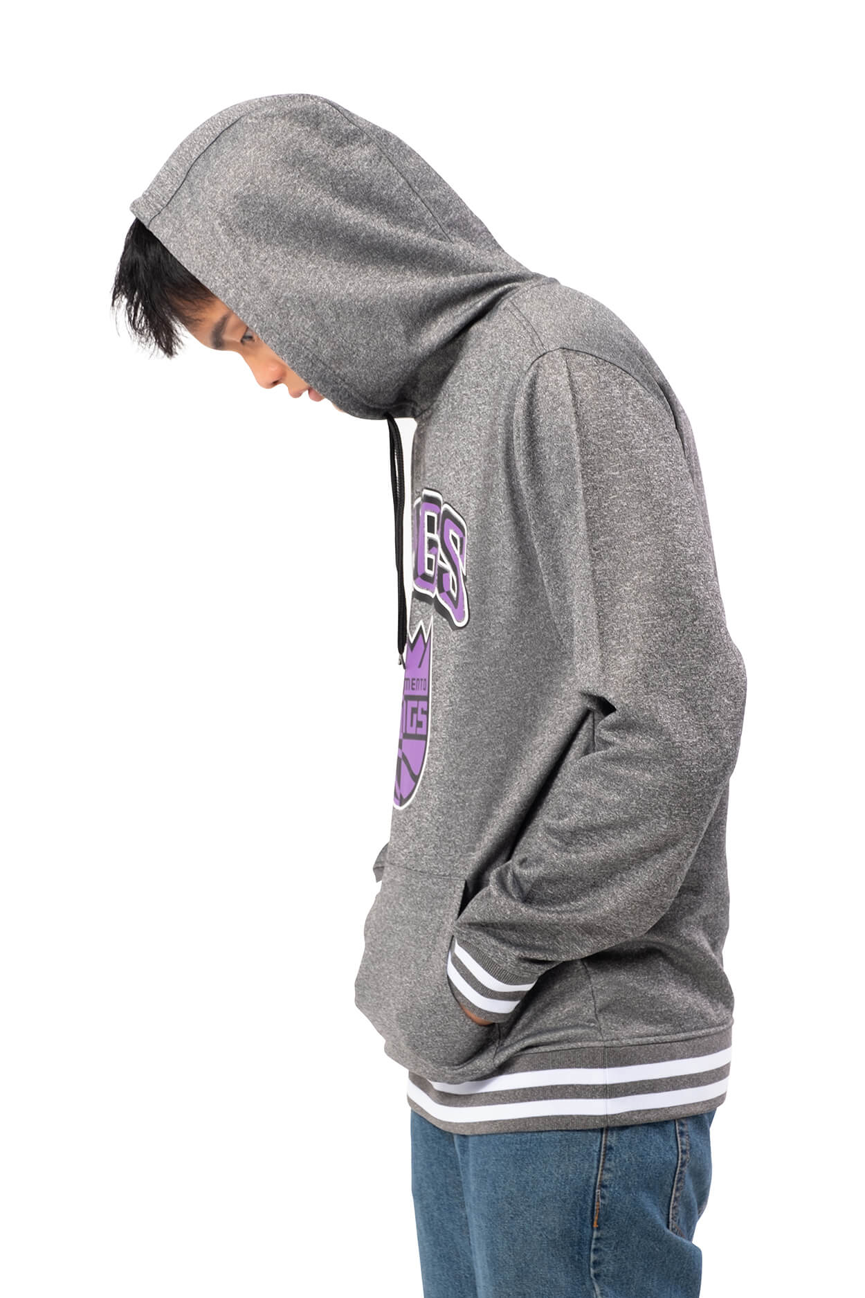NBA Sacramento Kings Men's Fleece Hoodie Rib Stripe|Sacramento Kings