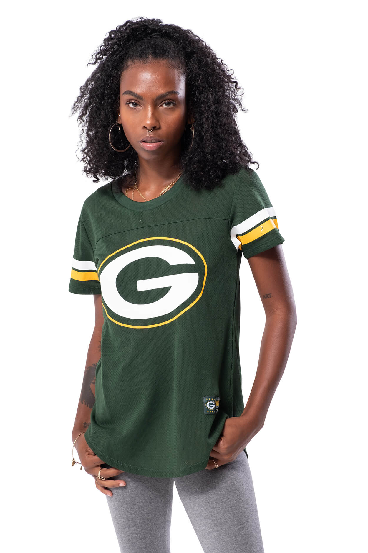 NFL Green Bay Packers Women's Varsity Stripe Tee|Green Bay Packers