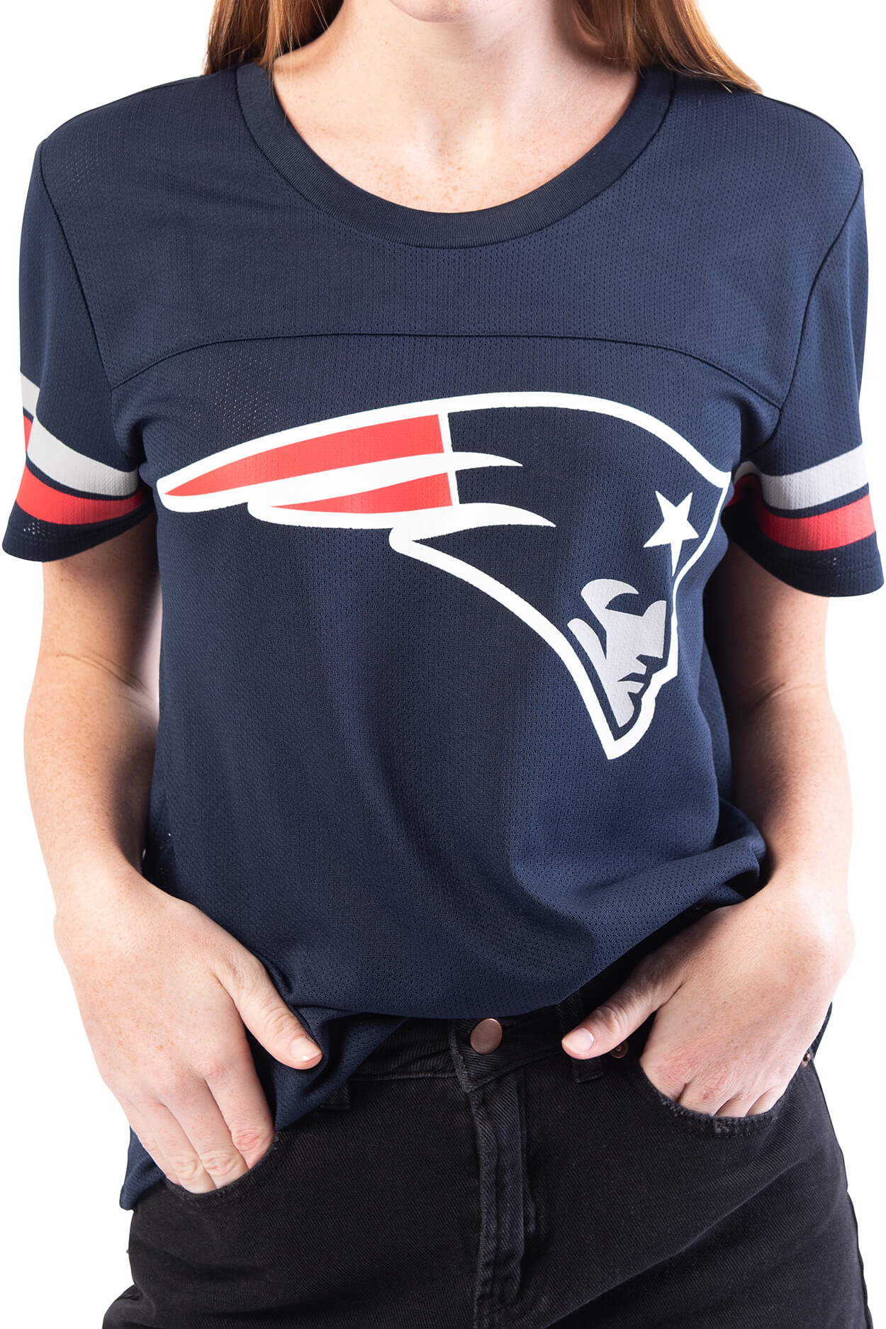 NFL New England Patriots Women's Varsity Stripe Tee|New England Patriots