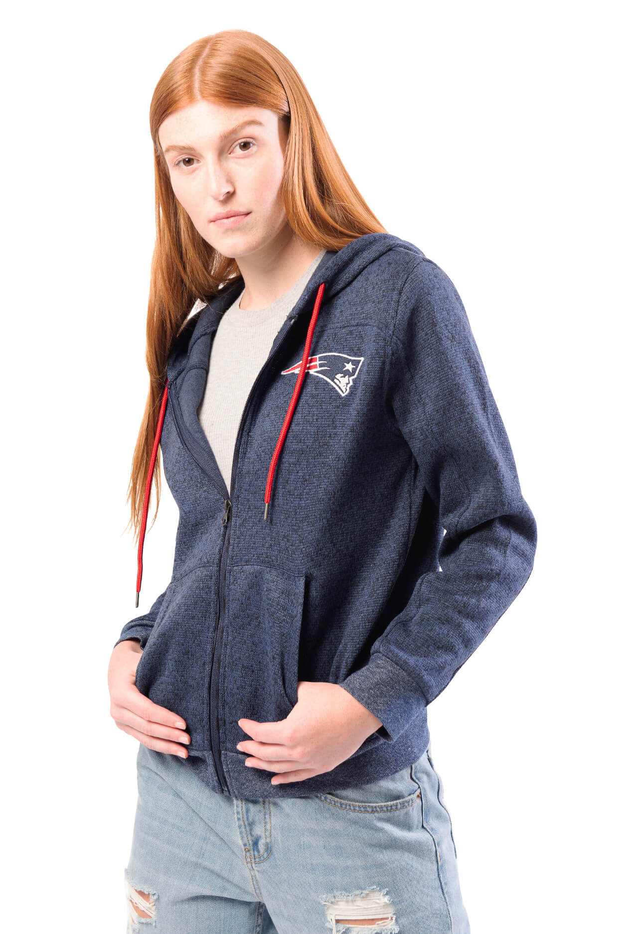 NFL New England Patriots Women's Full Zip Hoodie|New England Patriots