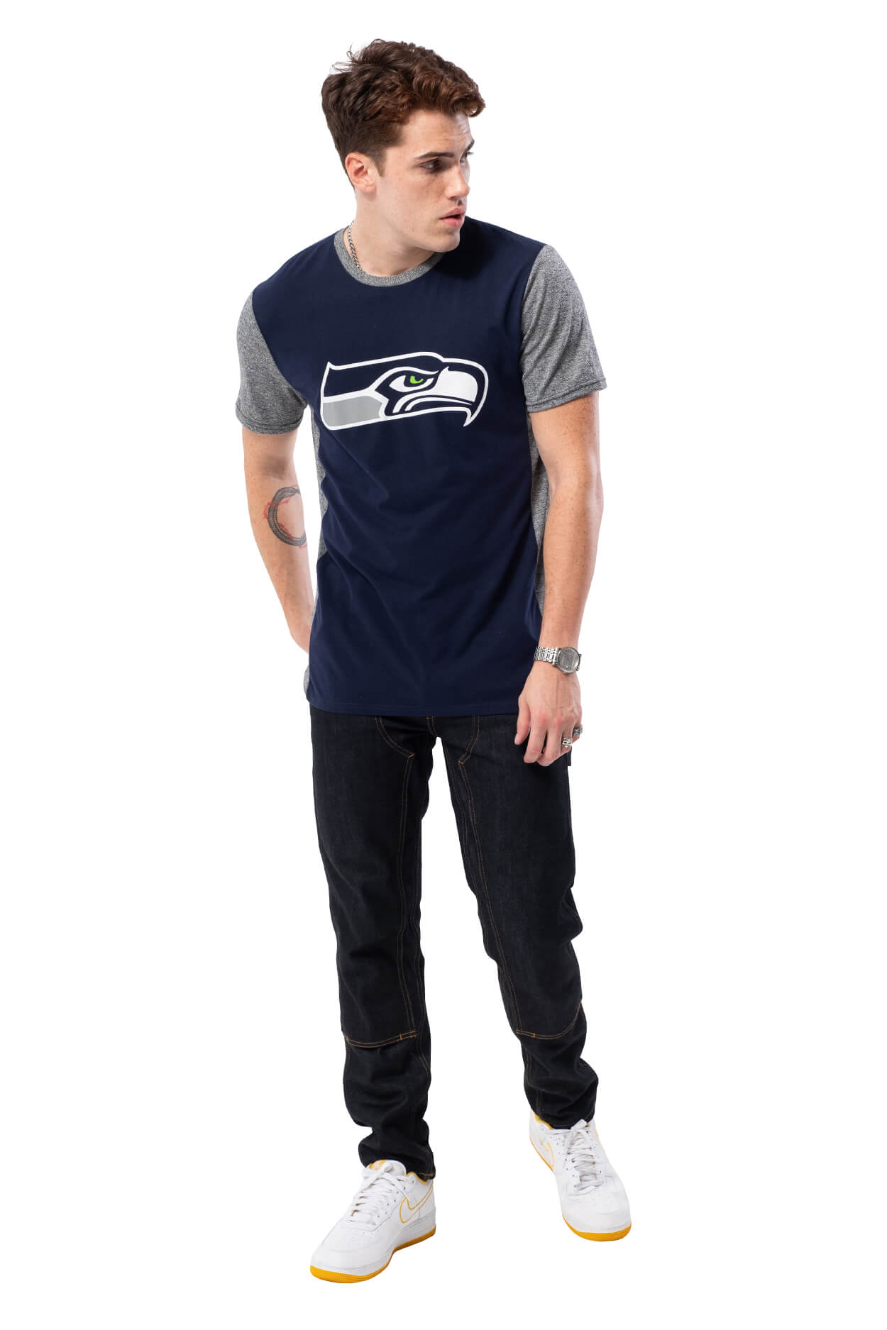 NFL Seattle Seahawks Men's Raglan Short Sleeve Tee|Seattle Seahawks