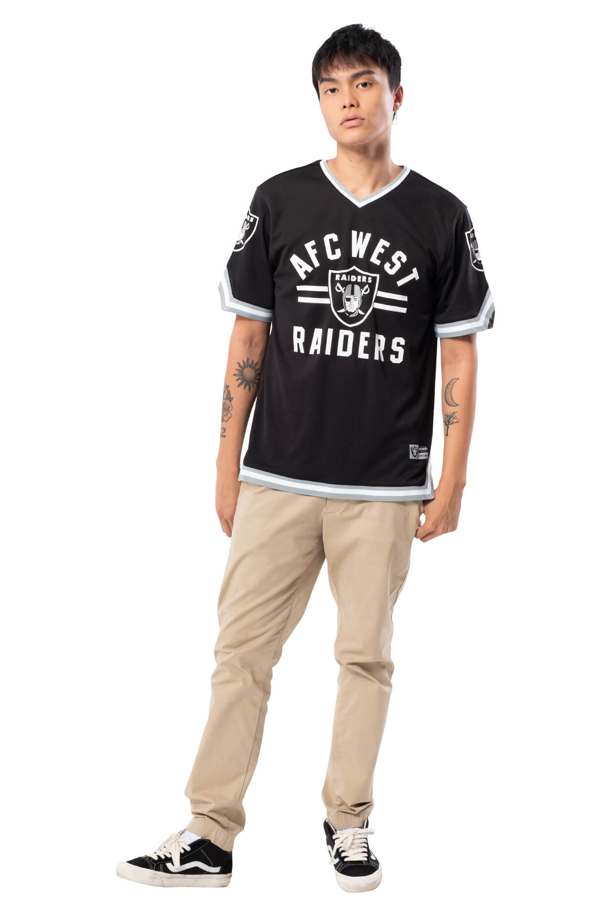 NFL Oakland Raiders Men's Jersey Stripe V-Neck|Oakland Raiders