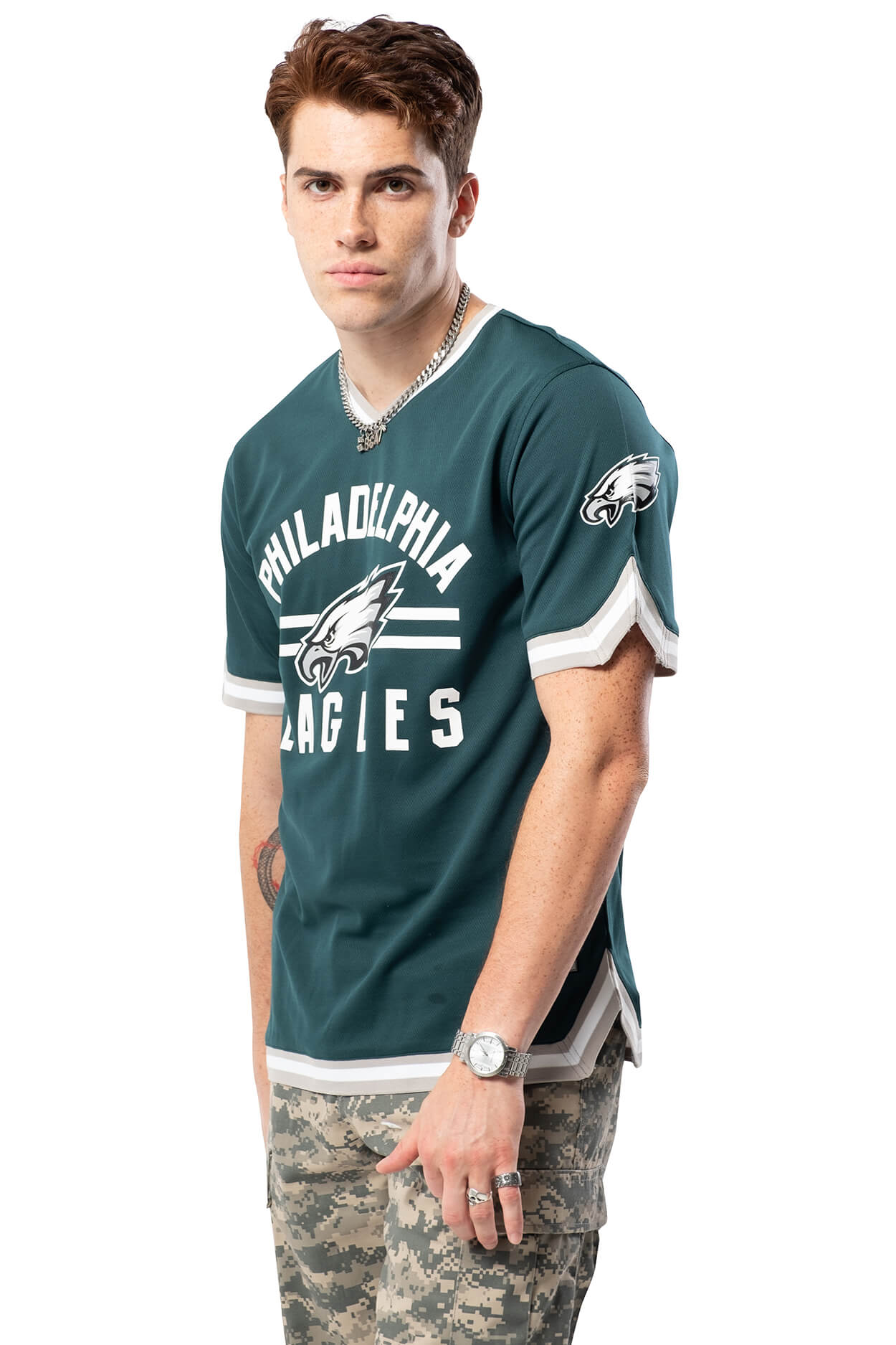 NFL Philadelphia Eagles Men's Jersey Stripe V-Neck|Philadelphia Eagles