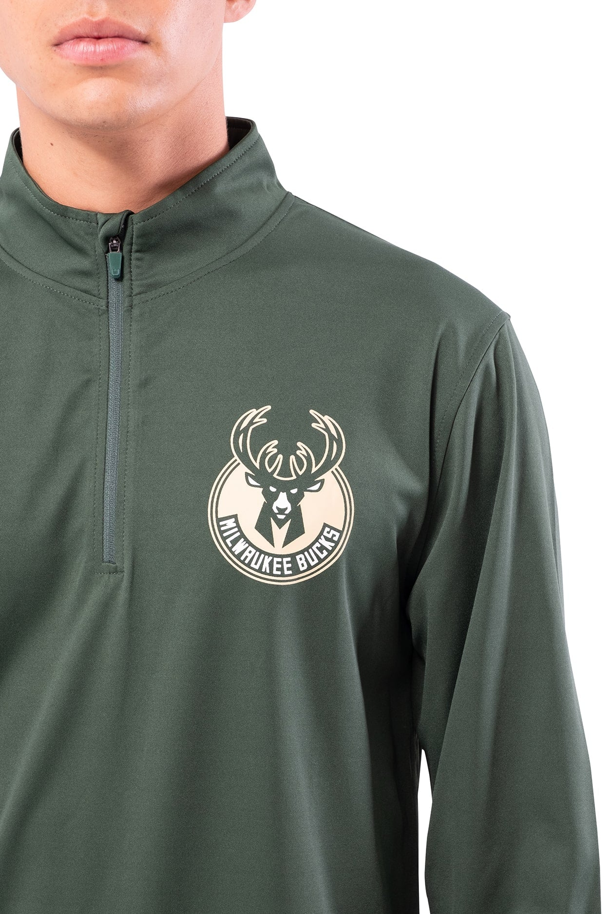 NBA Milwaukee Bucks Men's Quarter Zip Quick Dry Tee|Milwaukee Bucks