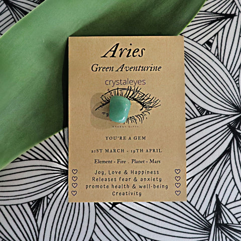 Aries Crystal Gift Cards - Green Aventurine