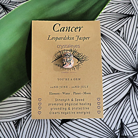 Cancer Crystal Gift Card - Leopard Skin Jasper