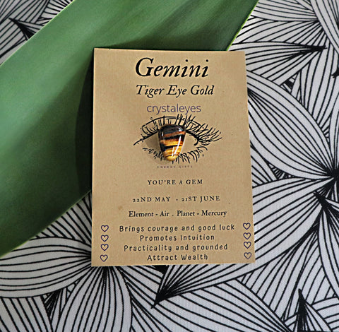 Gemini Crystal Gift Card - Tiger Eye Gold