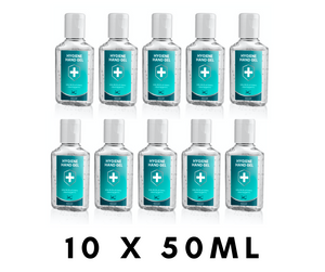 10 x 50ml Antibacterial Hand Sanitiser Gel - Vector