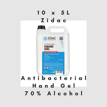 Load image into Gallery viewer, 10 x  5 Litre Zidac Anti Bacterial Hand Gel (50L)