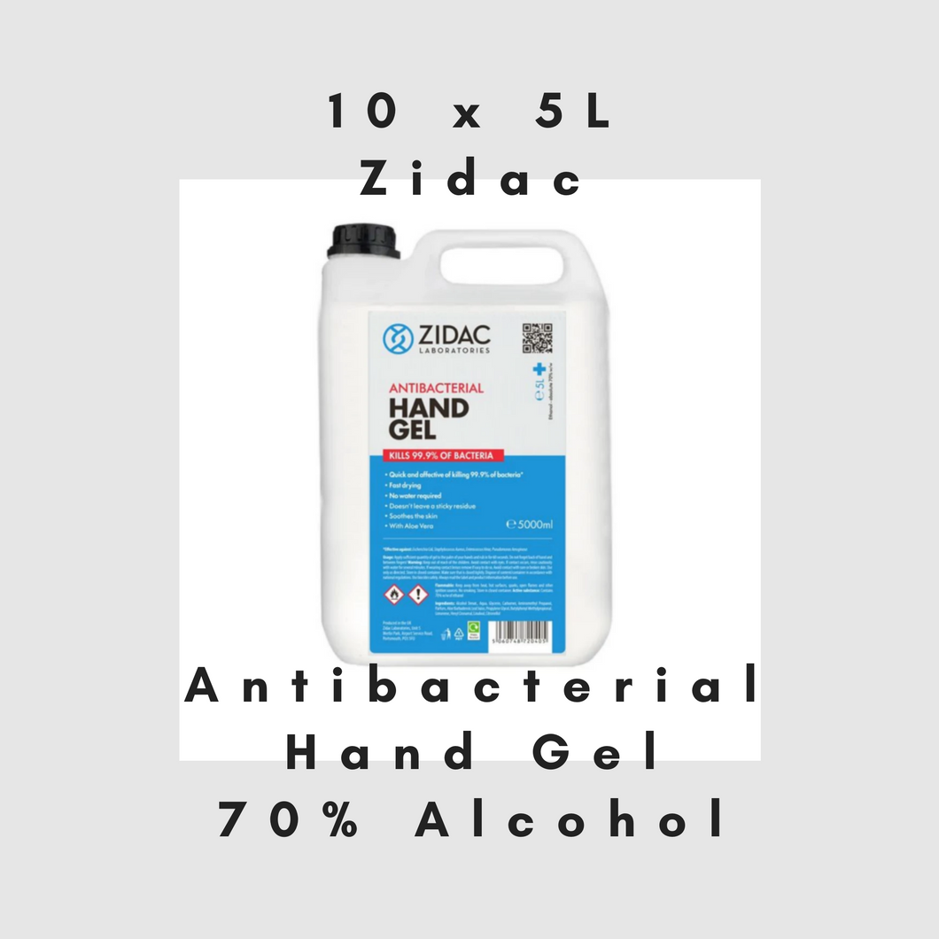10 x  5 Litre Zidac Anti Bacterial Hand Gel (50L)