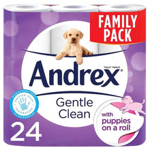 "Load image into Gallery viewer, 24 ANDREX ""PUPPIES ON A ROLL"" GENTLE CLEAN TOILET ROLLS (1 X 24)"