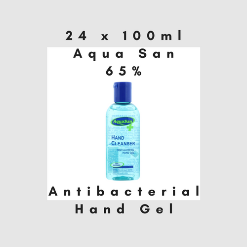 24 x 100ml MALIBU AQUASAN HAND SANITISER 65% ALCOHOL