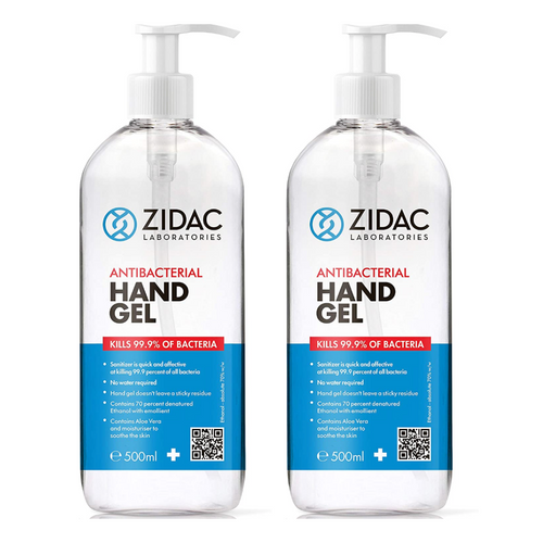 2 x 500ml Zidac Anti Bacterial Hand Gel