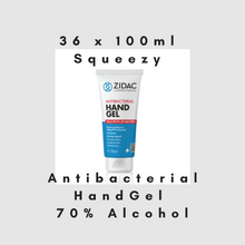 Load image into Gallery viewer, 36 x 100ml Squeezy Tube Zidac Anti Bacterial Hand Gel