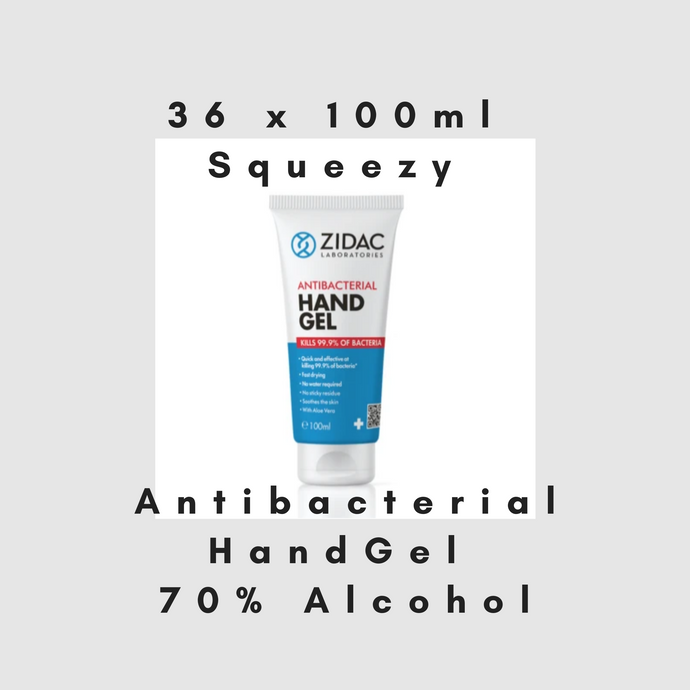 36 x 100ml Squeezy Tube Zidac Anti Bacterial Hand Gel