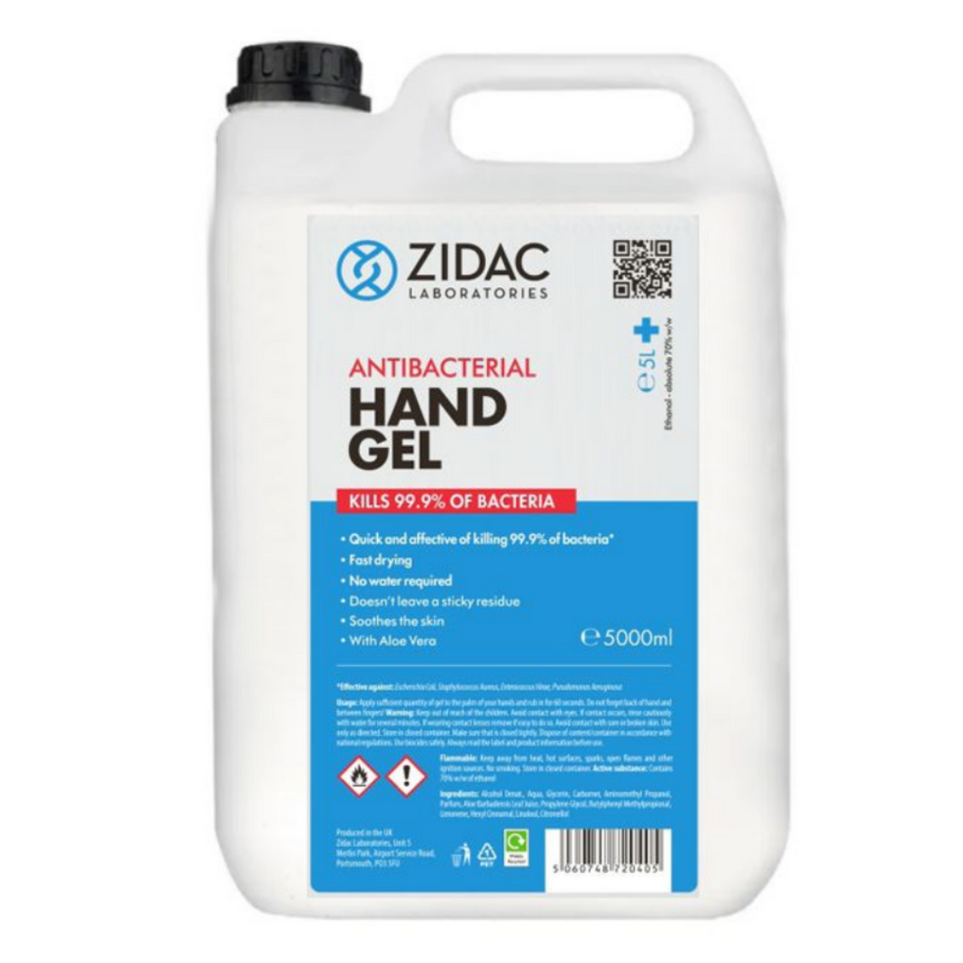 8 x  5 Litre Zidac Anti Bacterial Hand Gel (40L)