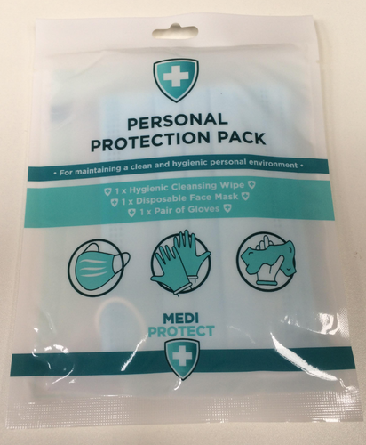 100 x Medipacks (Face Mask, Hand Wipe, Pair Disposable Gloves)