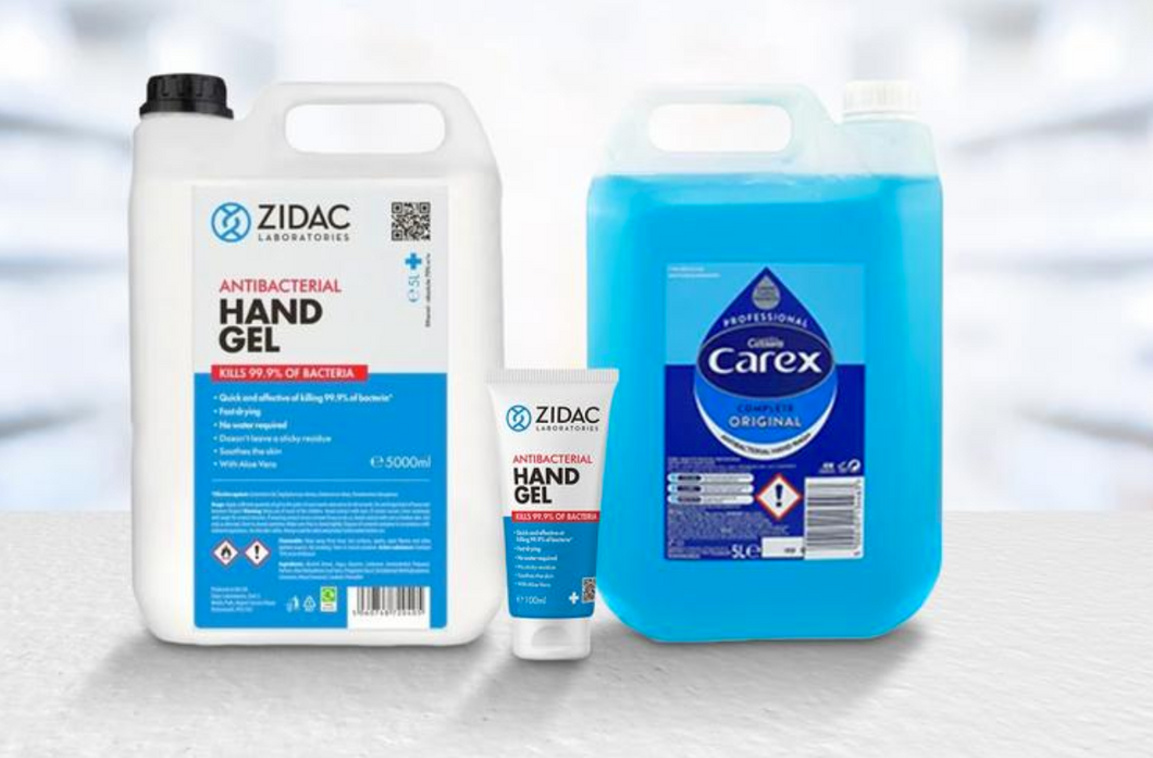 5 Litre Carex Hand Wash + 5 Litre Zidac Hand Gel + 100ml Zidac Tube Bundle