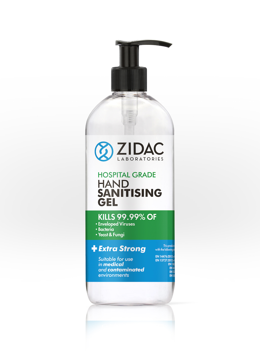 2 x 500ml NEW Zidac Hospital Grade Hand Gel -