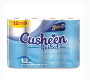 60 Cusheen white quilted Toilet Roll