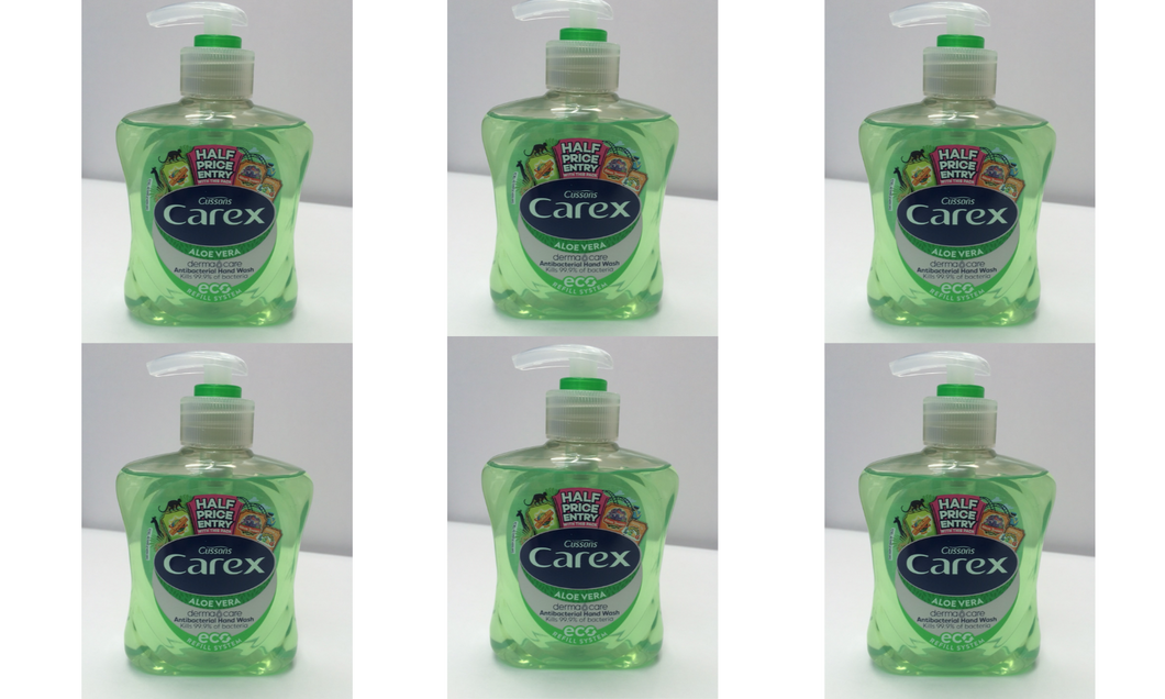 6 x 250ml Carex Anti Bacterial Hand Wash - Aloe Vera