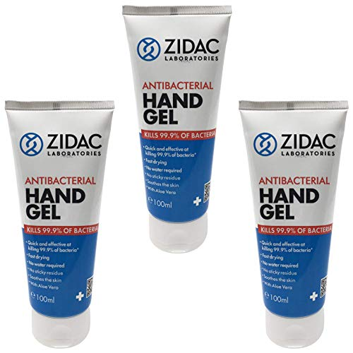 3 x 100ml Zidac Squeezy Tube Anti Bacterial Hand Gel