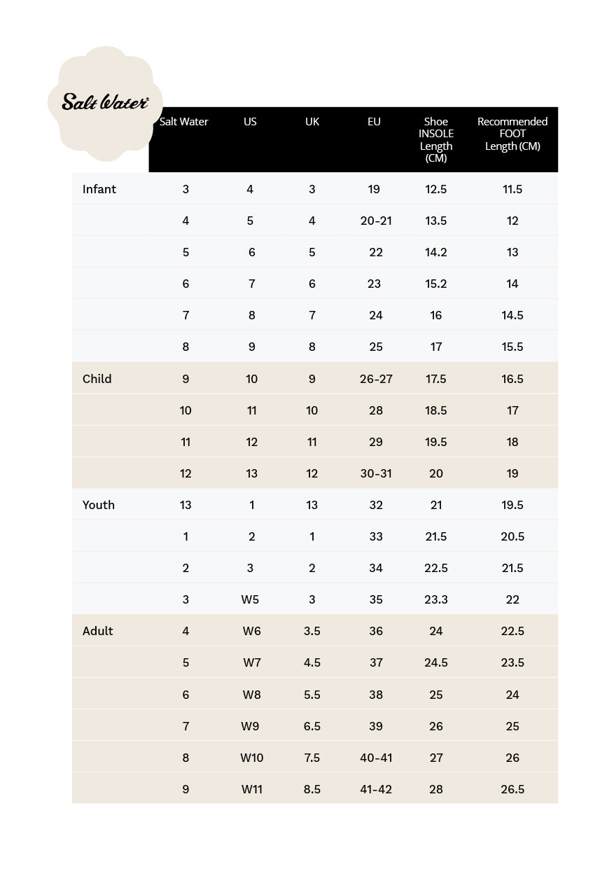 Saltwater Sandals Sizing Guide