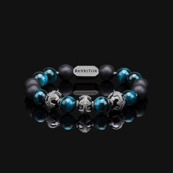 "BLUE TIGER EYE PREMIUM BLACK GOLD 10MM ""WATER"" BRACELET"