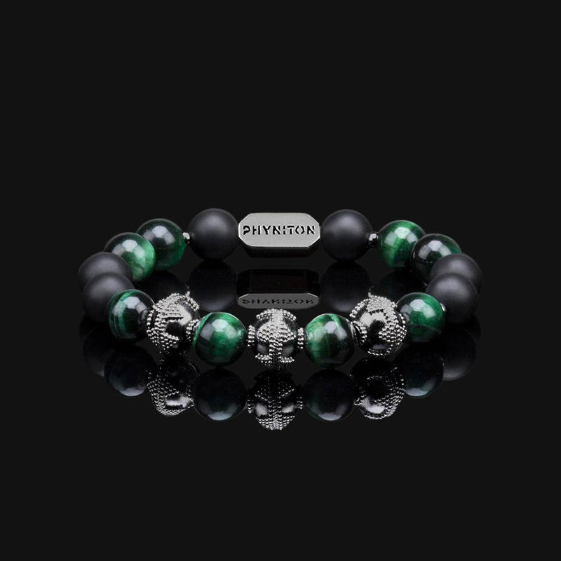 "GREEN TIGER EYE PREMIUM BLACK GOLD 10MM ""WOOD"" BRACELET"